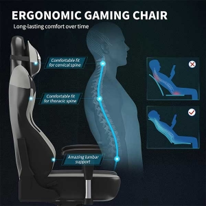 Gaming Ergonomic Swivel Recliner with Adjustable Armrest Office Chair
