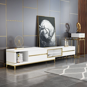 Luxury Tempered Glass Table Top Extendable Storage TV Stand
