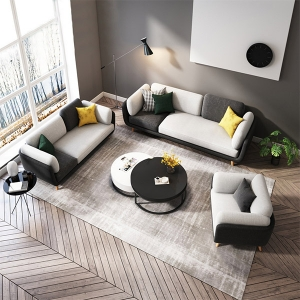 Modern Black and White Fabric Sponges Cushioned Loveseat Sofa for Living Room