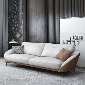 Elegant Faux Leather Tapered Legs 3 Seater Living Room Sofa