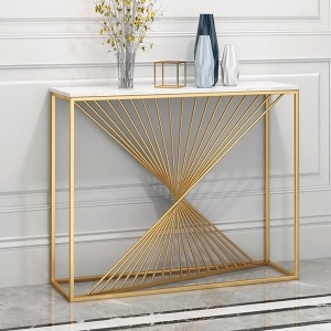 Elegant Faux Marble Entryway Console Table with Sleek Stainless Steel Frame