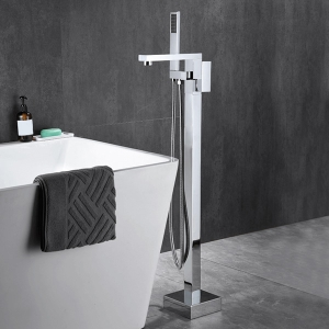 European Floor Mounted 1-Hole Tub Filler Bathroom Faucet with Hand Shower