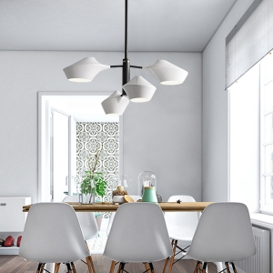 Stylish Futurism Chandelier with Black Metal Fixtures Ceiling Light