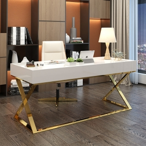 """Nordic 55"""" Writing Desk White Wood Gold Finish Stainless Steel Base"""