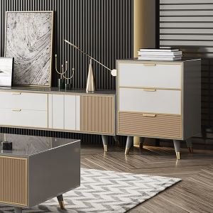 """Modern Gray Tempered Glass Cabinet 22"""" with Solid Wood Legs"""