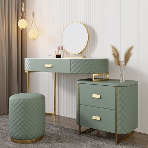 Elegant High-quality Marble Green Check Detials Makeup Dressing Vanity Table