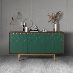 """Contemporary MDF Walnut Veneer Sideboard 59"""" with Stainless Steel Electroplated Base"""