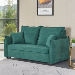 """Modern Sleeper 69"""" Engineered Flannelette Convertible Loveseat Sofa Bed with Iron Wood Frame"""