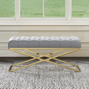 """Post-modern Gray Microfiber Bench 39"""" with X-shaped Gold Stainless Steel Electroplated Frame"""