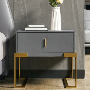 Nordic Grey Nightstand with Brushed Gold Metal Base Bedside Table