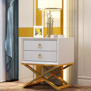 """Nordic High-density Board Nightstand Baking Paint Bedside Table 20"""" with Gold Stainless Steel Electroplated Frame"""