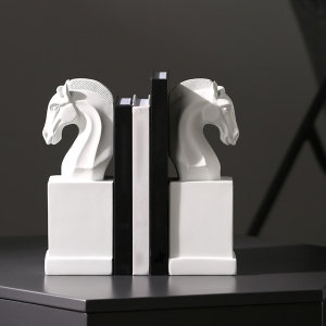 Classic Bookends Knight Chess Piece Artful Plaster Style Home Decor