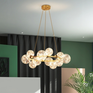 Luxurious Large Size Chandelier with Golden Ring Base Ceiling Light