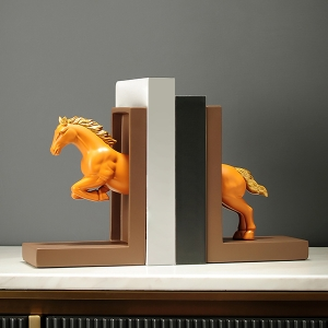 Classic Book Stops Vigorous Leaping Horse Innovative Bookends Home Decor