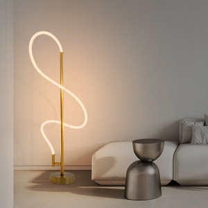 Minimalist LED Table Lamp with Long Twisted Lighting Tube Table Light