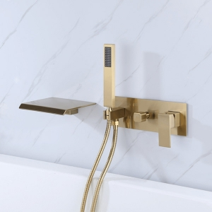 Luxury Mixer Faucet Wall Mount 3-Hole Waterfall Bathtub with Hand Shower