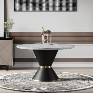 """Contemporary 48"""" Marble Dining Table with Black Carbon Steel Base for for Dining Room, Kitchen, Dinette"""