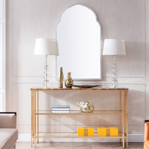 """Modern Marble Entryway Console Table 59"""" with Sleek Metal Frame and Tempered Glass"""