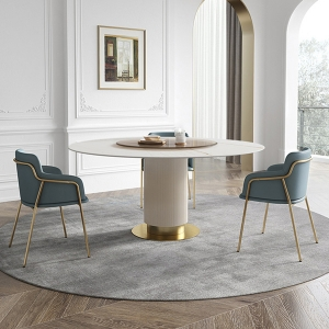 Modern Round Polishment Marble Tabletop Wavy Detail Base Dining Table