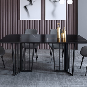 Elegant Rectangle Black Marble Top Dining Table with Dual Pedestals
