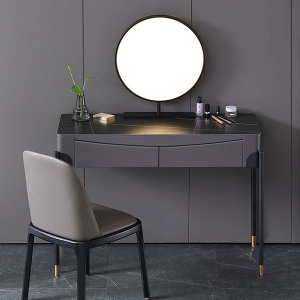 Contemporary Dressing Table Sintered Stone Top Black Makeup Vanity