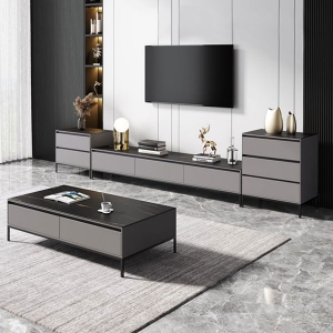 Minimalist Black High-end Marble Top Carbon Steel Legs TV Stand