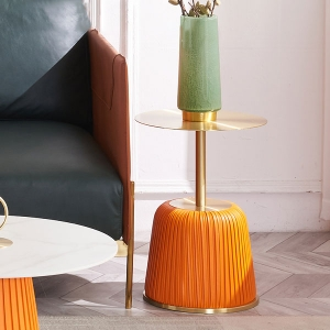 Classic Round Side Table Simplicity Design with Golden Metal Table Top