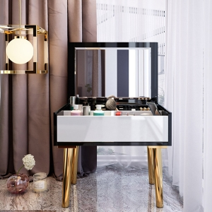 """Mini 24"""" Vanity Table MDF Makeup Desk Dressing Table with Gold Electroplated Titanium Frame"""