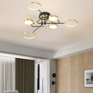 Minimalist Dimmable Semi-Flush Mount Ceiling Light with Iron Frame
