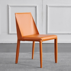 Minimalist Saddle Leather Solid Wood Versatile Chairs in Set of 2
