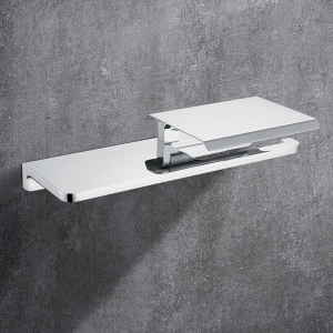 Moderen Wall-Mount Toilet Paper Holder with Shelf and Cover Tissue Holder