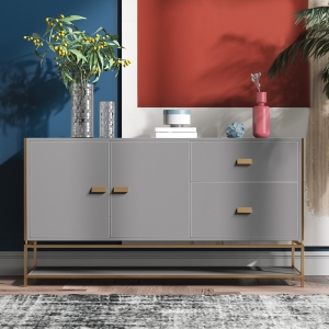 """Modern Leather Sideboard 59"""" with Stainless Steel Electroplated Frame"""