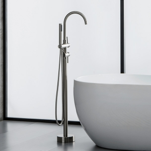 Modern 1-Hole Floor Mount Tub Filler Mixer Faucet with 2 Handles and Hand Shower