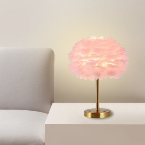 Bedside Table Lamp for Bedroom with Feather Lampshade Metal Base