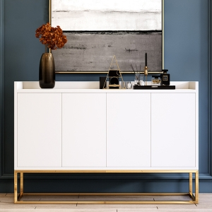 Modern 4-Door Sideboard with Stainless Steel Gold Frame
