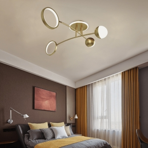 Modern Dimmable Semi-Flush Mount Ceiling Light with Baking Paint Iron Frame and Glass Cover