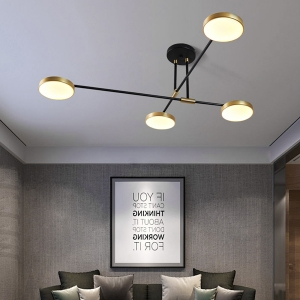 Modern Dimmable Semi-Flush Mount Ceiling Light with Baking Paint Iron Frame