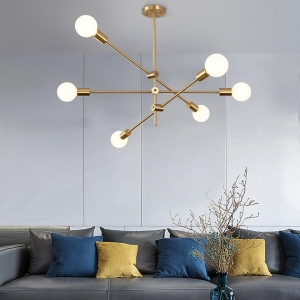 Modern 6-Light Semi-Flush Ceiling Light with Electroplated Iron Frame