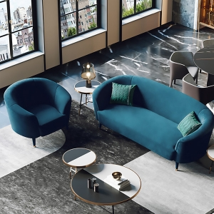 """Modern Blue Flannelette Sofa 72"""" with Tapered Stainless Steel Electroplated Legs"""