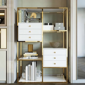 """Modern Bookcase 39"""" with Solid Wood Drawers and Stainless Steel Frame"""
