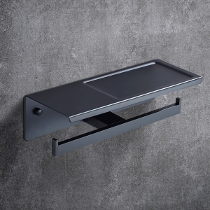 Modern Double-Post Toilet Paper Holder Metal Wall Mount with Shelf