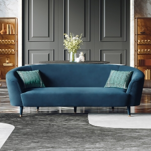 """Modern Flannelette Sofa 91"""" with Tapered Stainless Steel Electroplated Legs"""