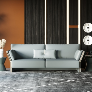 """Modern Gray Leather Sofa 75"""" with Flared Arms and Tapered Stainless Steel Electroplated Frame"""