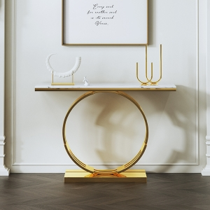 Modern Marble Entryway Console Table with Gold Stainless Steel Electroplated Frame