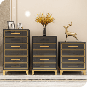 Modern MDF Chest of Drawers Cabinet with Stainless Steel Electroplated Frame