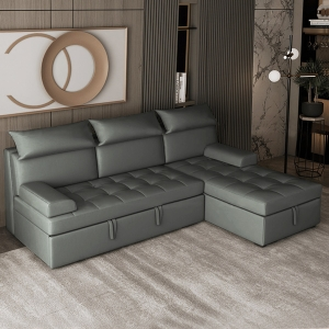 """Modern Sleeper 79"""" Microfiber Leather Convertible Loveseat Sofa Bed with Iron Wood Frame"""