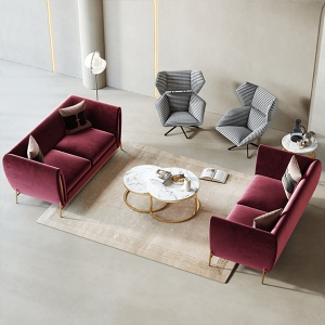 """Modern Loveseat Sofa 71"""" with Stainless Steel Electroplated Frame"""
