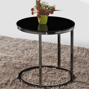 """Modern Tempered Glass Side Table 20"""" with Black Stainless Steel Base"""