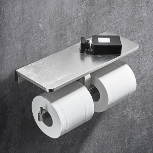 Modern Toilet Paper Holder with Double-Post and Shelf Tissue Holder