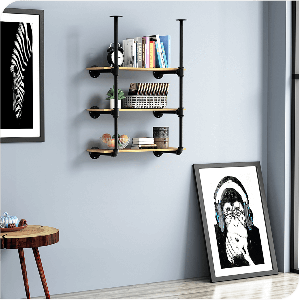 Modern Wall Mount Particle Board Storage Shelf Bookcase with Black Metal Frame